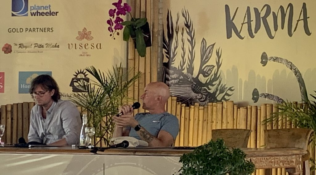 Irvine Welsh on stage at the 2019 Ubud Writer's Festival